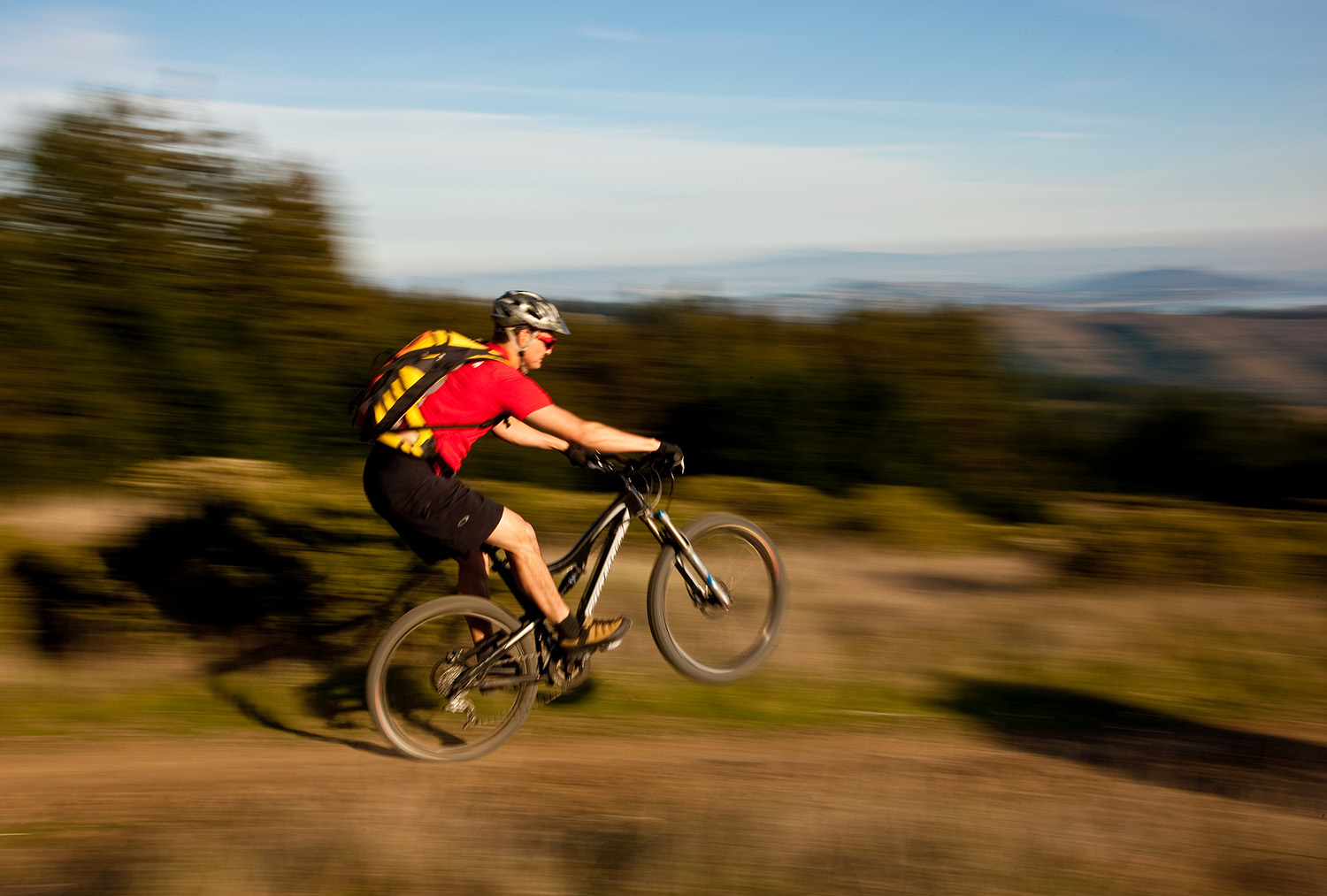 Walt Denson Captures Jiro at Speed on Mt Tam's Coastal Trail with a 1/30th shutter speed
