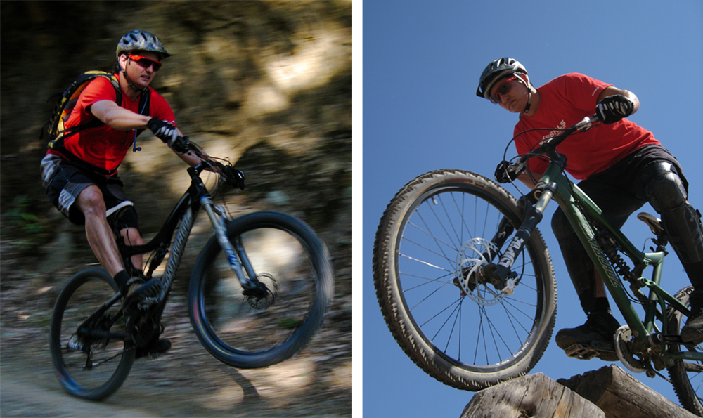"Notice that with even slight blurring, like the bike's spokes, the image on the left looks like speed. The rider and bike on the right, while sharp and vibrant, appears more ""frozen"""